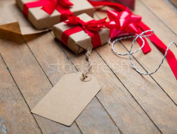 Aranyos ajándékok címke dolgok csomagolás csodálatos Stock fotó © Massonforstock