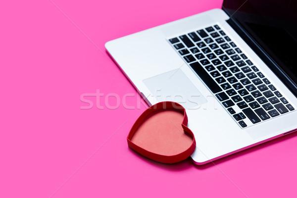 Belo coração brinquedo legal laptop Foto stock © Massonforstock