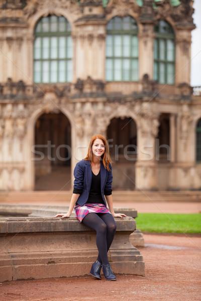 美しい 若い女性 座って 噴水 素晴らしい 建物 ストックフォト © Massonforstock
