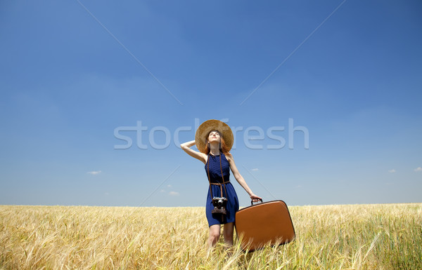 Stok fotoğraf: Kız · bavul · bahar · moda