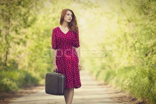 Dziewczyna walizkę drzew aleja drzewo Zdjęcia stock © Massonforstock
