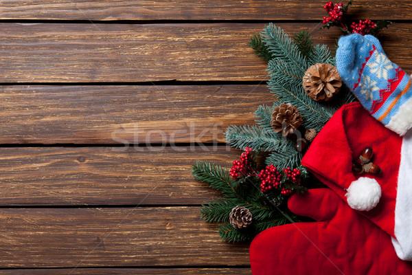 Pine branch Santa Claus clothes Stock photo © Massonforstock