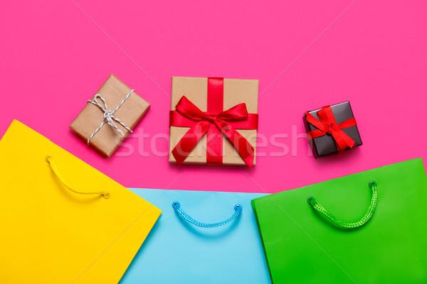 Ajándékok szatyrok gyönyörű színes bevásárlótáskák kicsi Stock fotó © Massonforstock