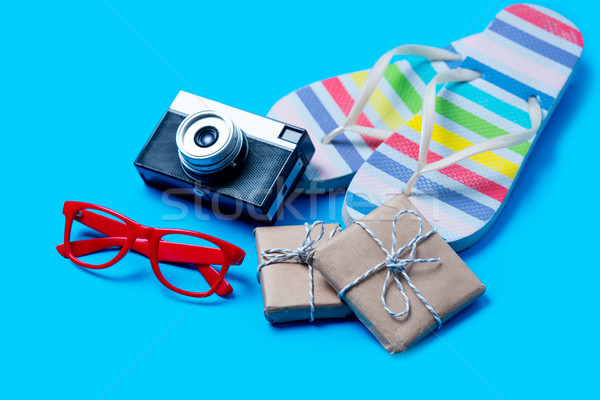 Színes szandál szemüveg kamera aranyos ajándékok Stock fotó © Massonforstock