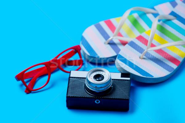 Kolorowy sandały okulary kamery wspaniały niebieski Zdjęcia stock © Massonforstock