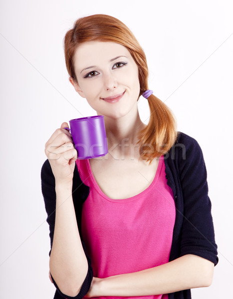 Portrait of red-haired girl with cup.  Stock photo © Massonforstock