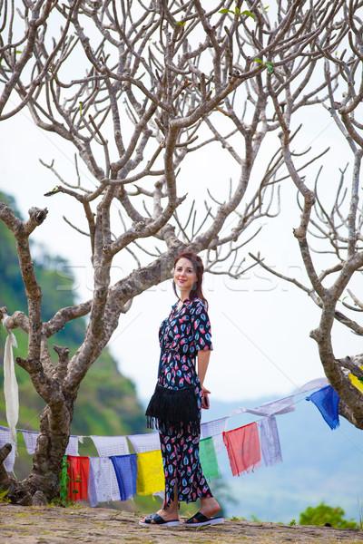 буддизм храма ходьбе деревья женщину Сток-фото © Massonforstock