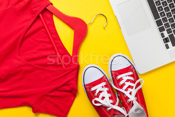 Red dress and gumshoes with laptop Stock photo © Massonforstock