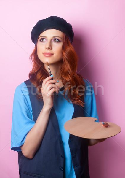 Maler Mädchen Pinsel Palette rosa Frauen Stock foto © Massonforstock