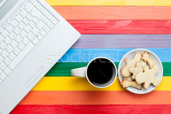 Beker koffie cookies laptop veelkleurig computer Stockfoto © Massonforstock