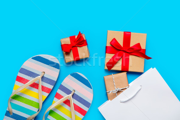 colorful sandals, shopping bag and beautiful gifts on the wonder Stock photo © Massonforstock