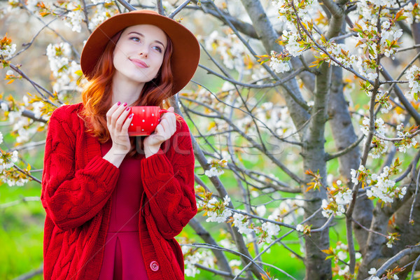 beautiful young woman with cup of coffee on the wonderful bloomi Stock photo © Massonforstock