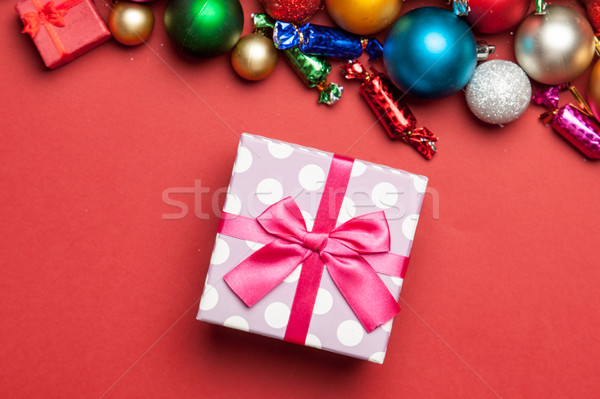 cute pink gift and beautiful christmas decorations on the wonder Stock photo © Massonforstock