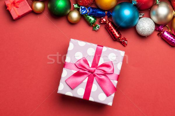 Sevimli pembe hediye güzel Noel süslemeleri Stok fotoğraf © Massonforstock