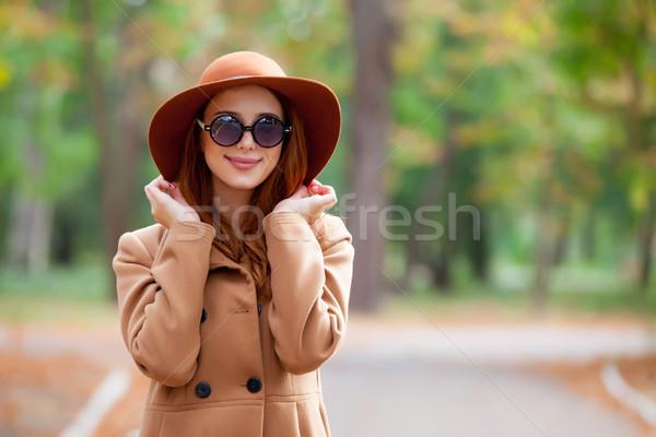 Photo belle jeune femme permanent merveilleux automne Photo stock © Massonforstock