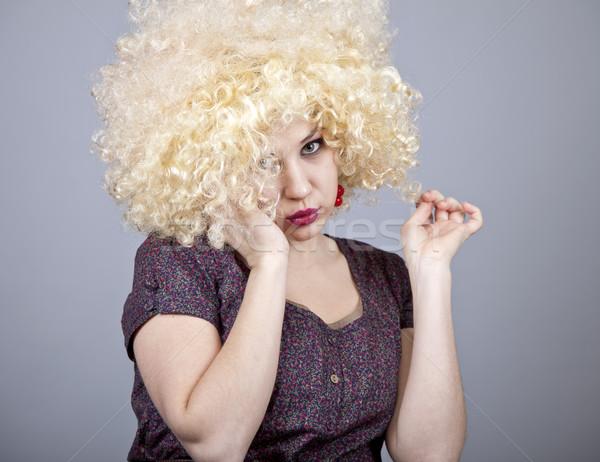 面白い 少女 かつら 楽しい 女性 ストックフォト © Massonforstock