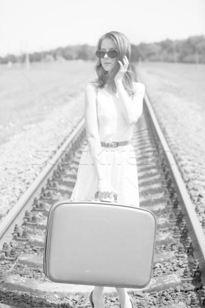 Foto stock: Jóvenes · moda · nina · maleta · foto