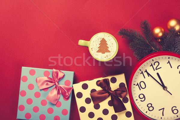 капучино подарки Кубок рождественская елка форма красный Сток-фото © Massonforstock