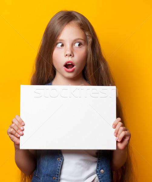 美しい 若い女の子 ホワイトボード 黄色 女性 少女 ストックフォト © Massonforstock