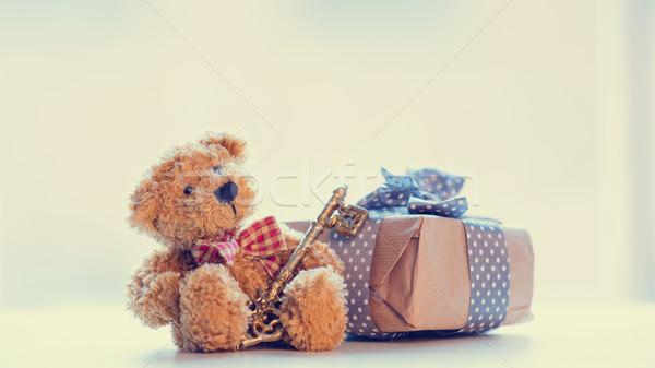 Aranyos plüssmaci arany kulcs gyönyörű ajándék Stock fotó © Massonforstock