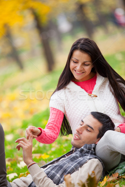 Photo cute couple merveilleux automne Photo stock © Massonforstock