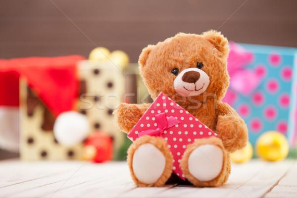 Foto d'archivio: Piccolo · orsacchiotto · regalo · Natale · sorriso · rosso