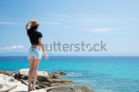 Belo mulher jovem em pé maravilhoso pedra costa Foto stock © Massonforstock