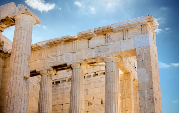 Fotó gyönyörű oszlopok csodálatos égbolt Görögország Stock fotó © Massonforstock