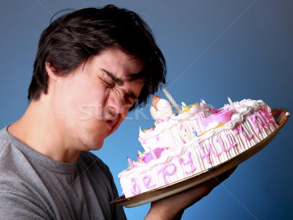 Funny men with big cake.  Stock photo © Massonforstock