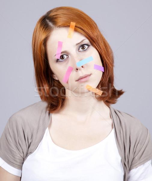 Verward onderneemsters merkt gezicht kantoor meisje Stockfoto © Massonforstock