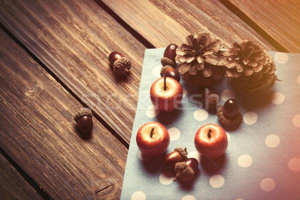 Little apples and pine cones  Stock photo © Massonforstock