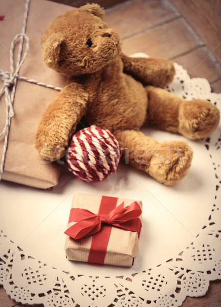 подарки мяча мишка красивой трикотажный Cute Сток-фото © Massonforstock
