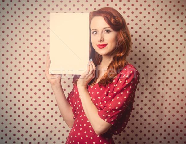 Belo mulher jovem folha papel maravilhoso Foto stock © Massonforstock