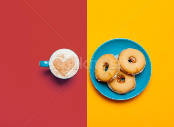 Foto taza café cookies maravilloso colorido Foto stock © Massonforstock