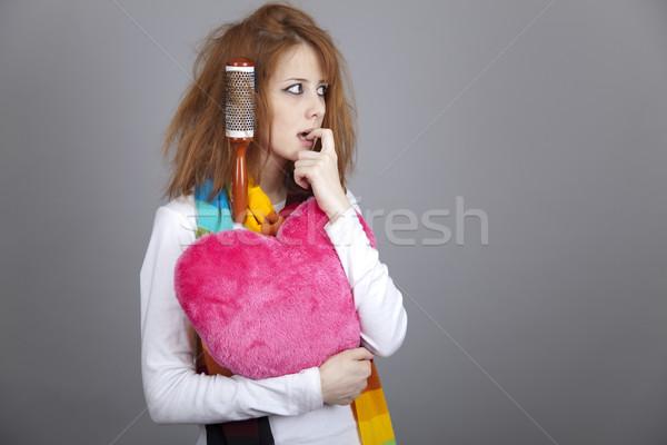 Szomorú lány szív fésű Valentin nap nap Stock fotó © Massonforstock