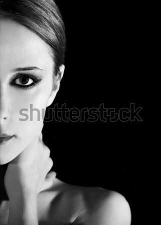 Meisje zwarte foto zwart wit stijl hand Stockfoto © Massonforstock