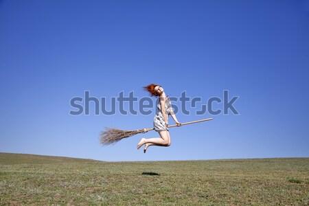 ストックフォト: 小さな · 魔女 · ほうき · 飛行 · 緑の草 · フィールド