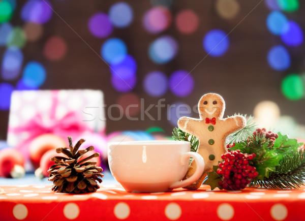 Beker thee cookie christmas lichten koffie Stockfoto © Massonforstock