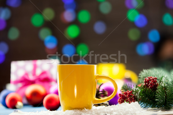Copo chá presentes natal luzes café Foto stock © Massonforstock
