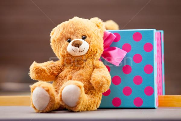 Сток-фото: мишка · подарок · мало · улыбка · красный · игрушку