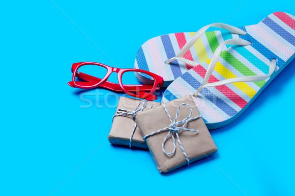 красочный сандалии очки Cute подарки замечательный Сток-фото © Massonforstock