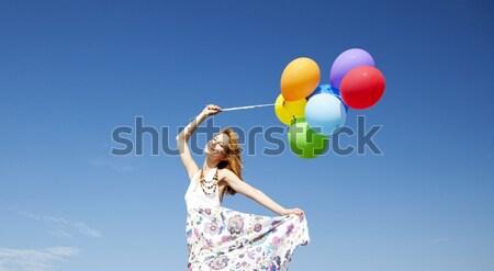 Foto stock: Nina · color · globos · cielo · azul · fiesta