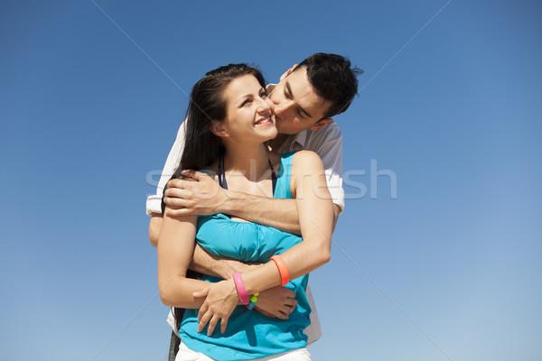 Foto stock: Belo · casal · beijando · blue · sky · mulher · praia