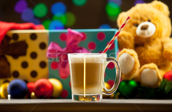 Tasse cappuccino Noël sourire café rouge Photo stock © Massonforstock