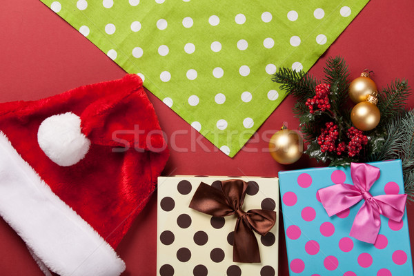 Navidad regalos servilleta rojo árbol cuadro Foto stock © Massonforstock