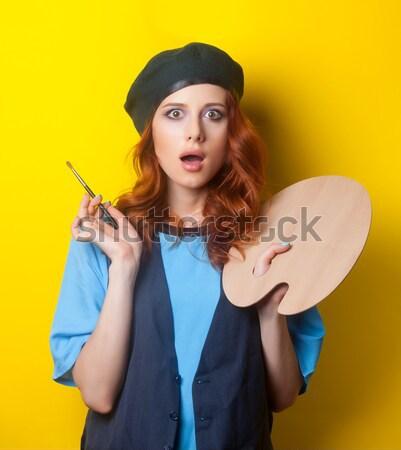 ストックフォト: 驚いた · 赤毛 · 画家 · ブラシ · パレット · 青
