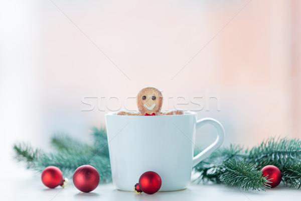 Gingerbread man fincan Noel dekorasyon dizayn yeşil Stok fotoğraf © Massonforstock