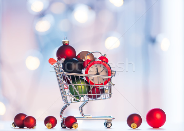 christmas alam clock and shopping cart  Stock photo © Massonforstock