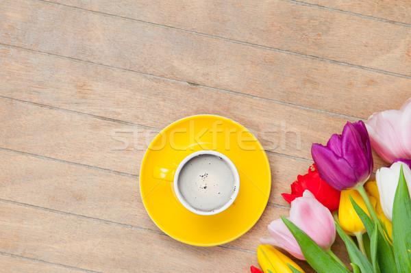 Fotó csésze kávé színes tulipánok csodálatos Stock fotó © Massonforstock