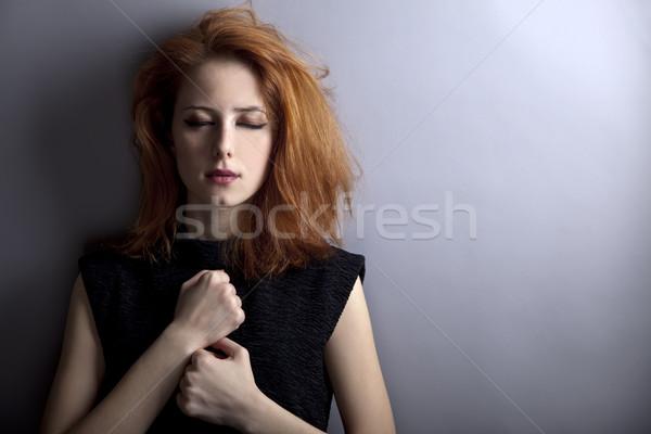 Portre üzücü kız 80s stil kaya Stok fotoğraf © Massonforstock
